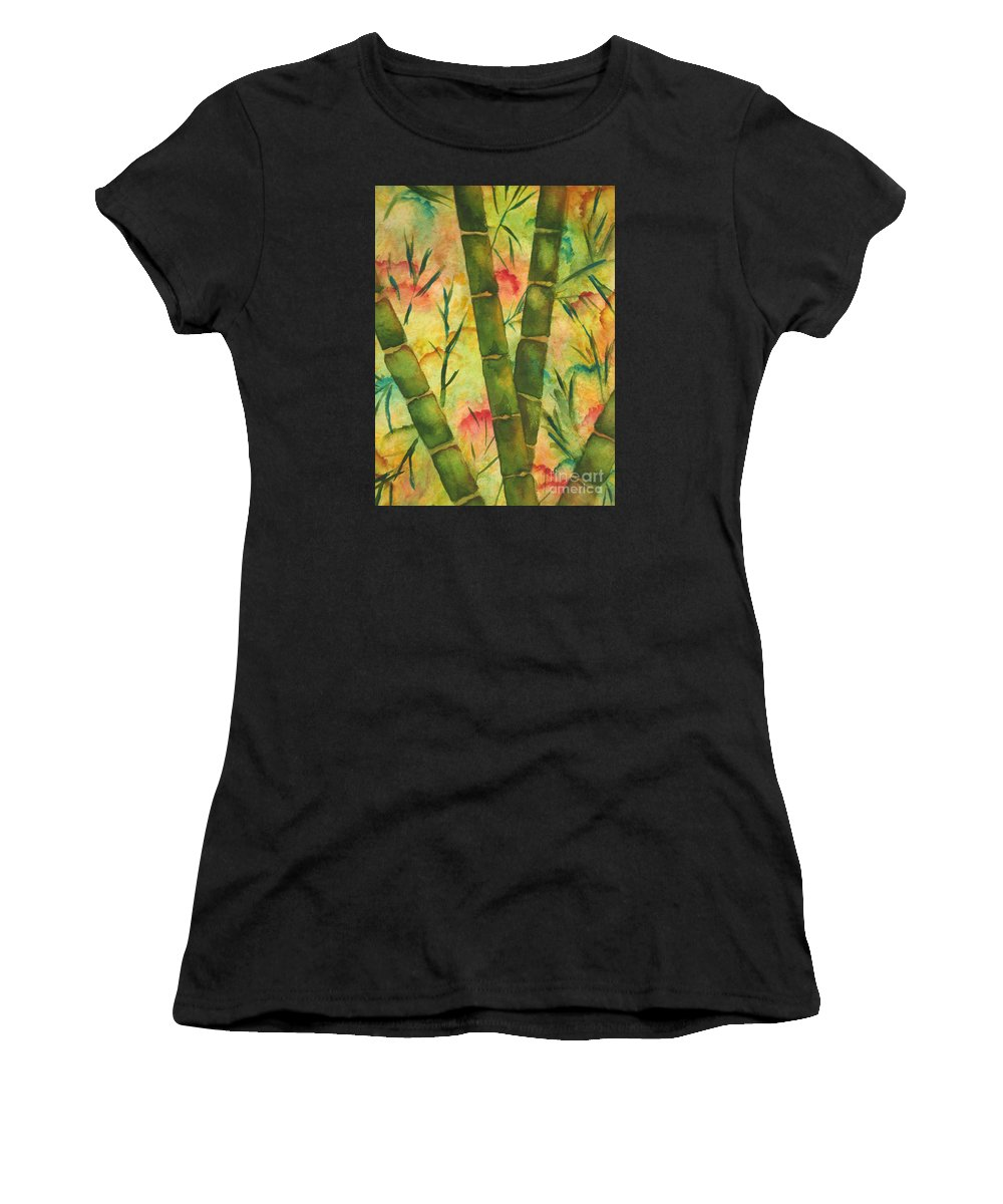 Fine Art Painting Women's T-Shirt (Athletic Fit) featuring the painting Bamboo Garden by Chrisann Ellis