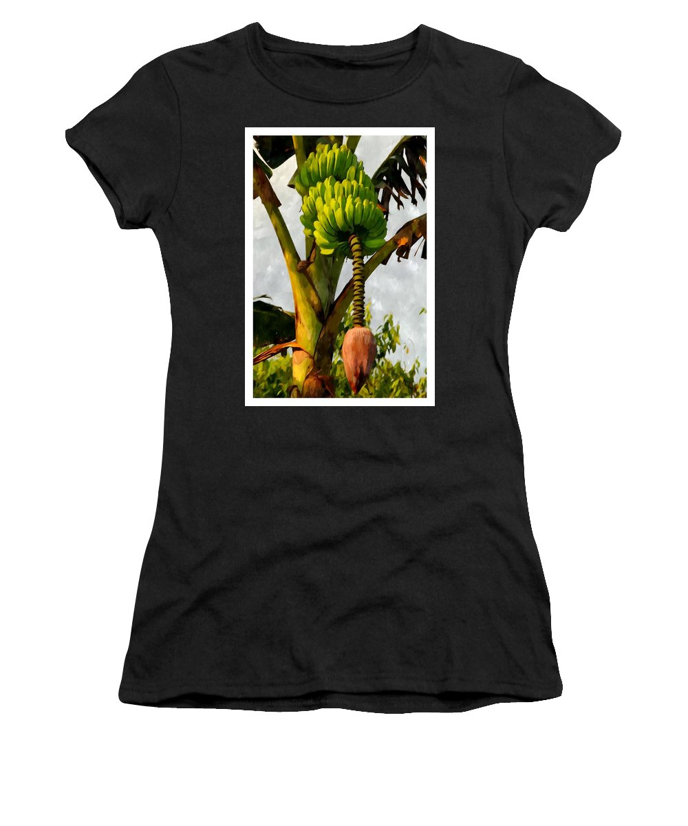 Banana Women's T-Shirt featuring the painting Banana Trees With Fruits And Flower In Lush Tropical Garden by Jeelan Clark