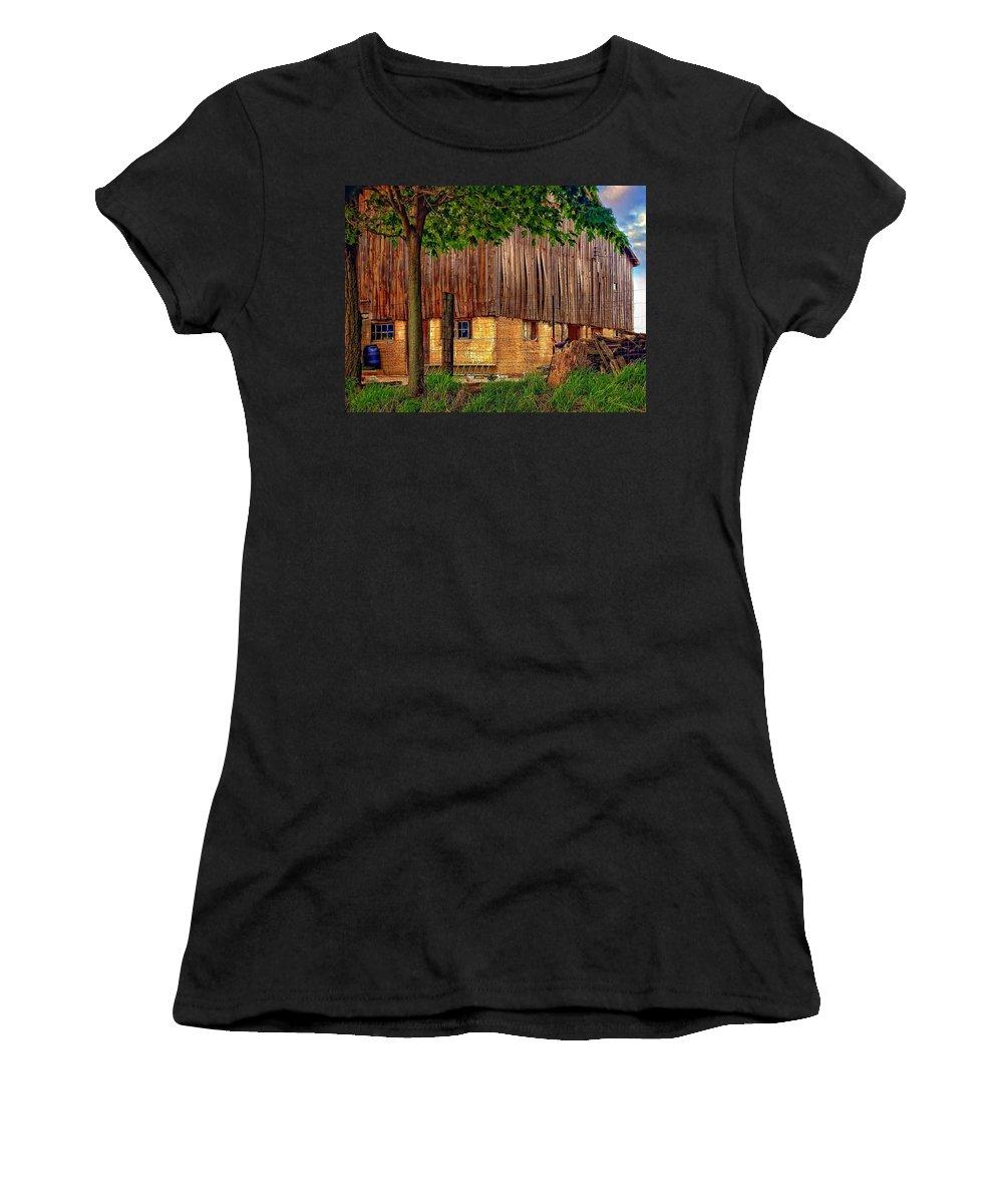 Barn Women's T-Shirt (Athletic Fit) featuring the photograph Barnyard by Steve Harrington