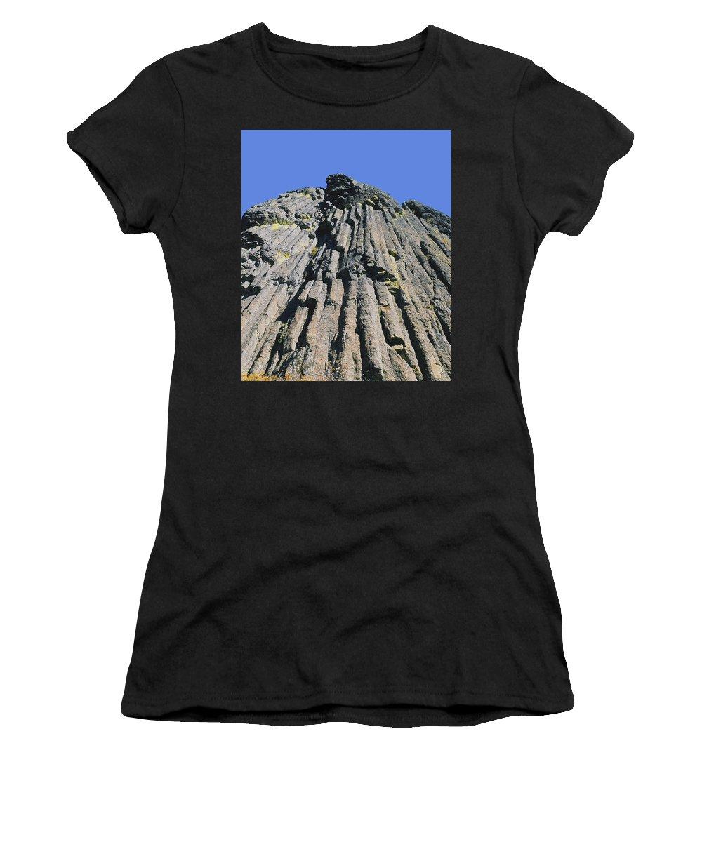 Basalt Columns Women's T-Shirt (Athletic Fit) featuring the photograph M-a5607-basalt Columns On Pilot Rock by Ed Cooper Photography