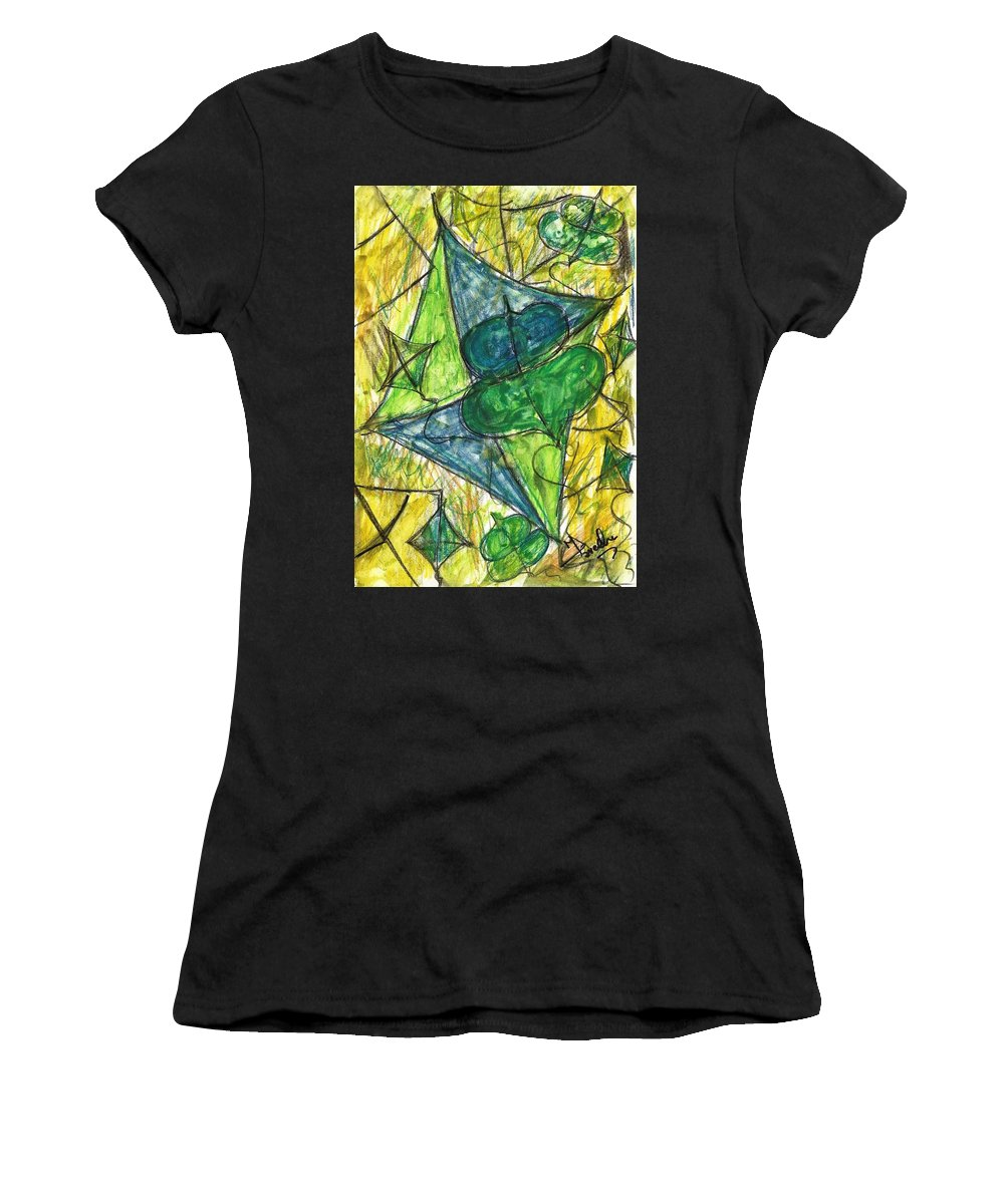 Painting Women's T-Shirt (Athletic Fit) featuring the painting Basant I by Fareeha Khawaja