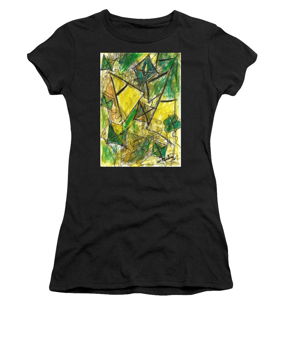 Painting Women's T-Shirt (Athletic Fit) featuring the painting Basant - Series by Fareeha Khawaja