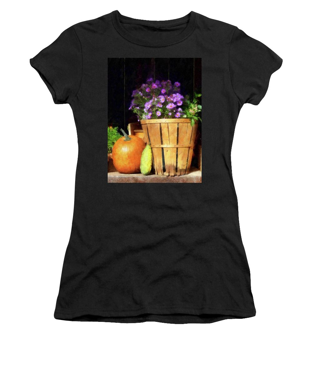 Autumn Women's T-Shirt featuring the photograph Basket Of Asters With Pumpkin And Gourd by Susan Savad