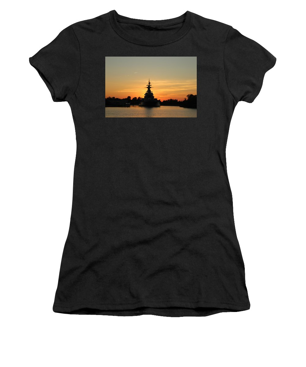 Battleship Women's T-Shirt (Athletic Fit) featuring the photograph Battleship At Sunset by Cynthia Guinn