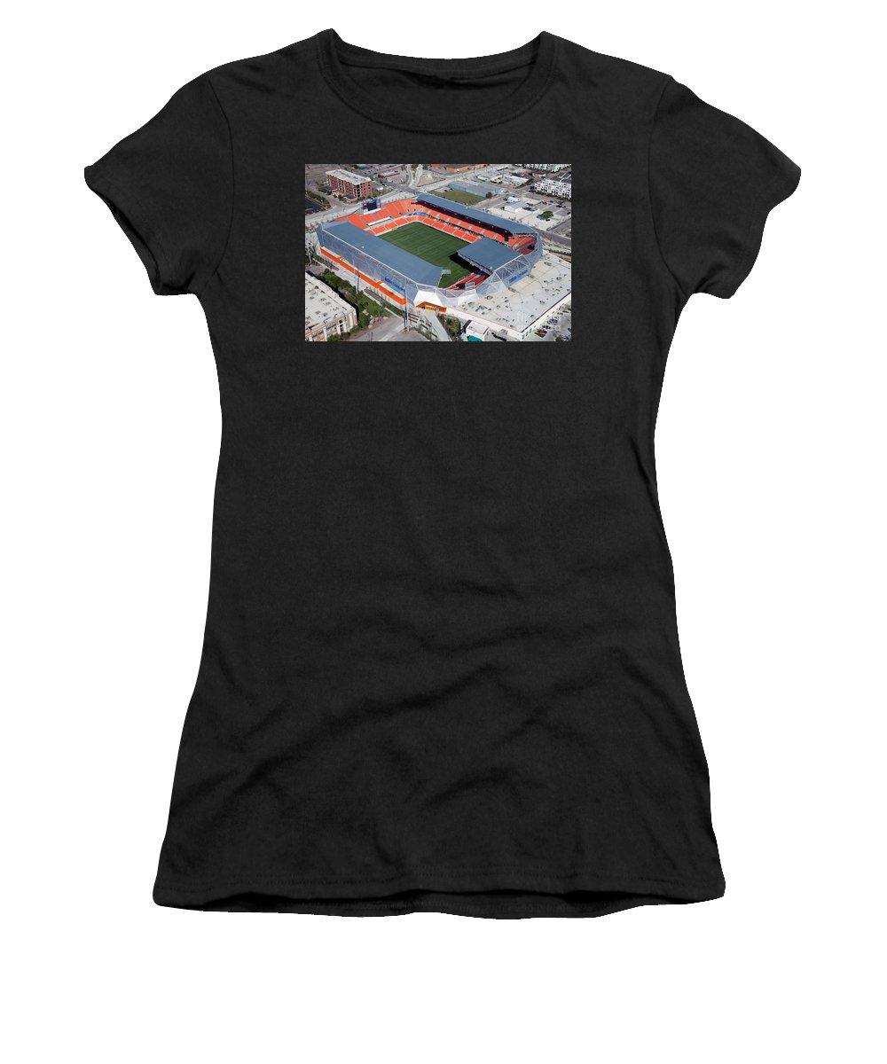 Bbva Women's T-Shirt (Athletic Fit) featuring the photograph Bbva Compass Stadium In Houston by Bill Cobb
