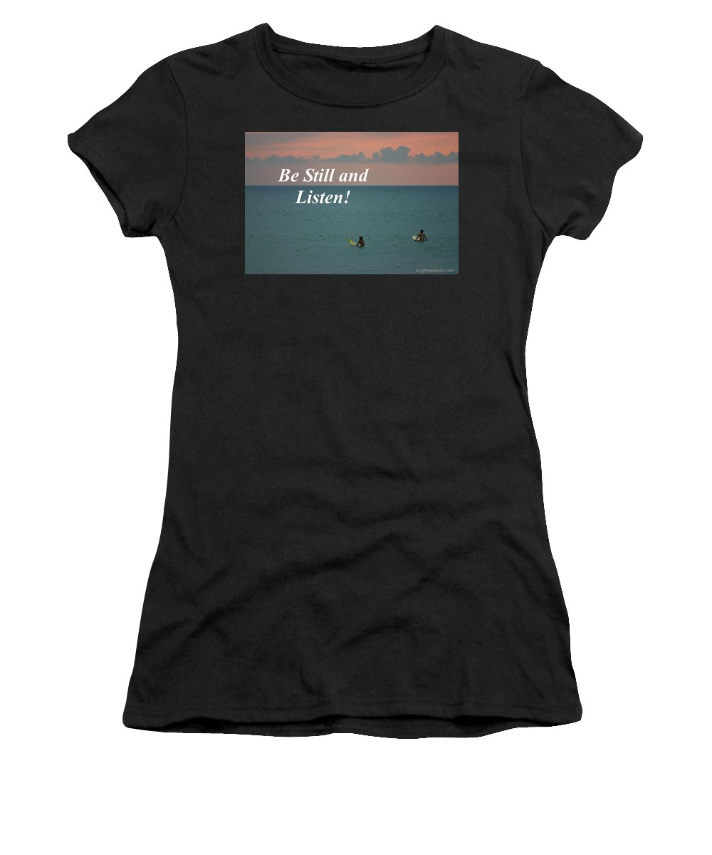 Ocean Women's T-Shirt (Athletic Fit) featuring the photograph Be Still And Listen by Pharaoh Martin