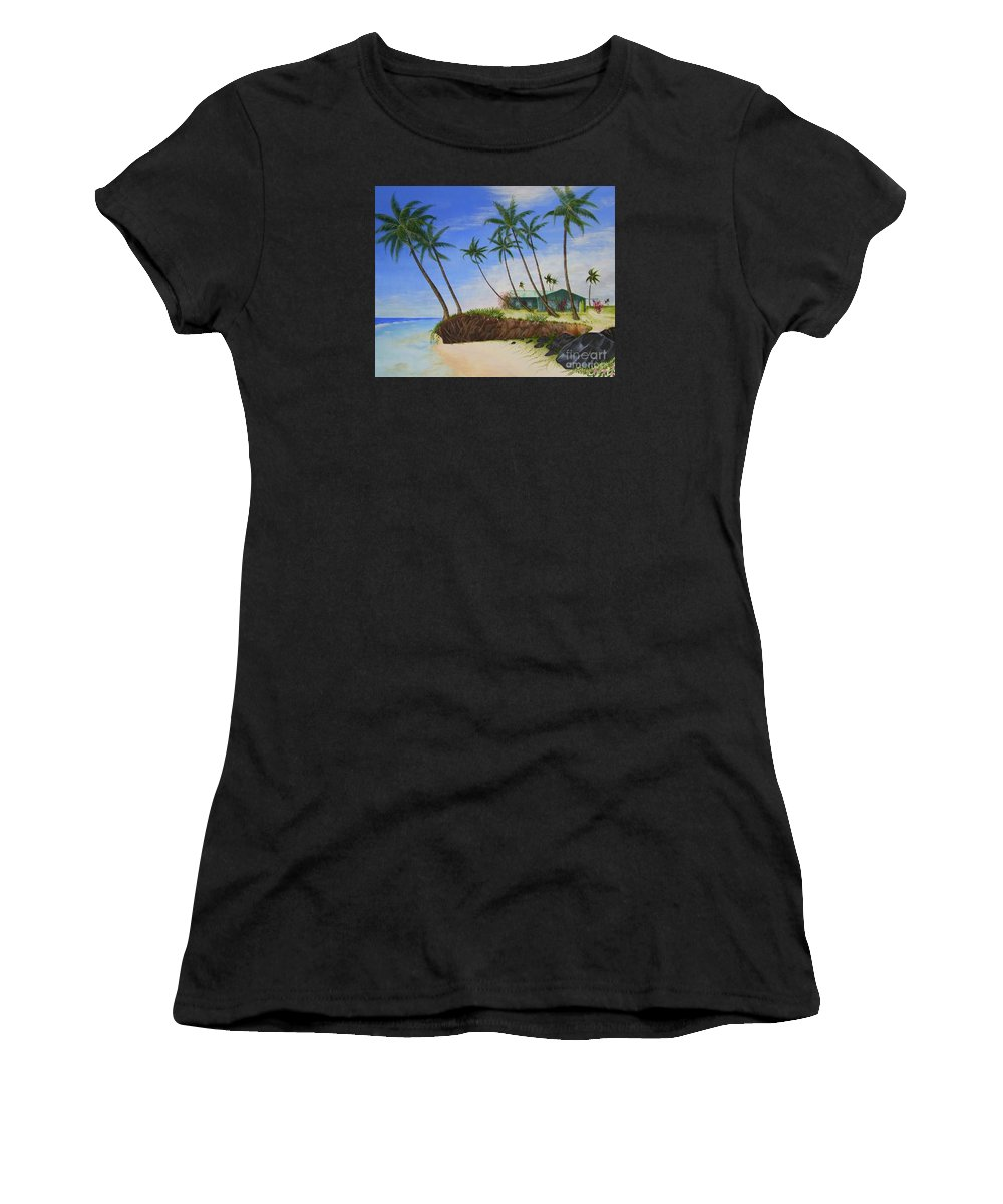 Beach House Women's T-Shirt (Athletic Fit) featuring the painting Beach House by Mary Deal