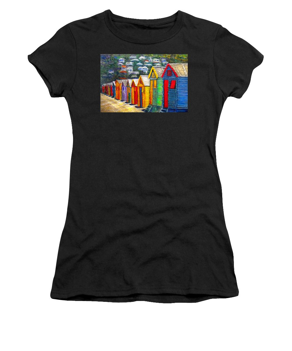 Beach Women's T-Shirt featuring the painting Beach Houses At Fish Hoek by Michael Durst