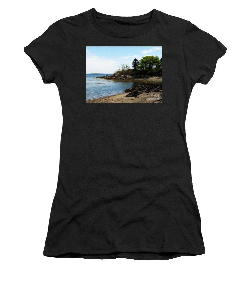 Maine Women's T-Shirt featuring the photograph Beach In Maine by DejaVu Designs