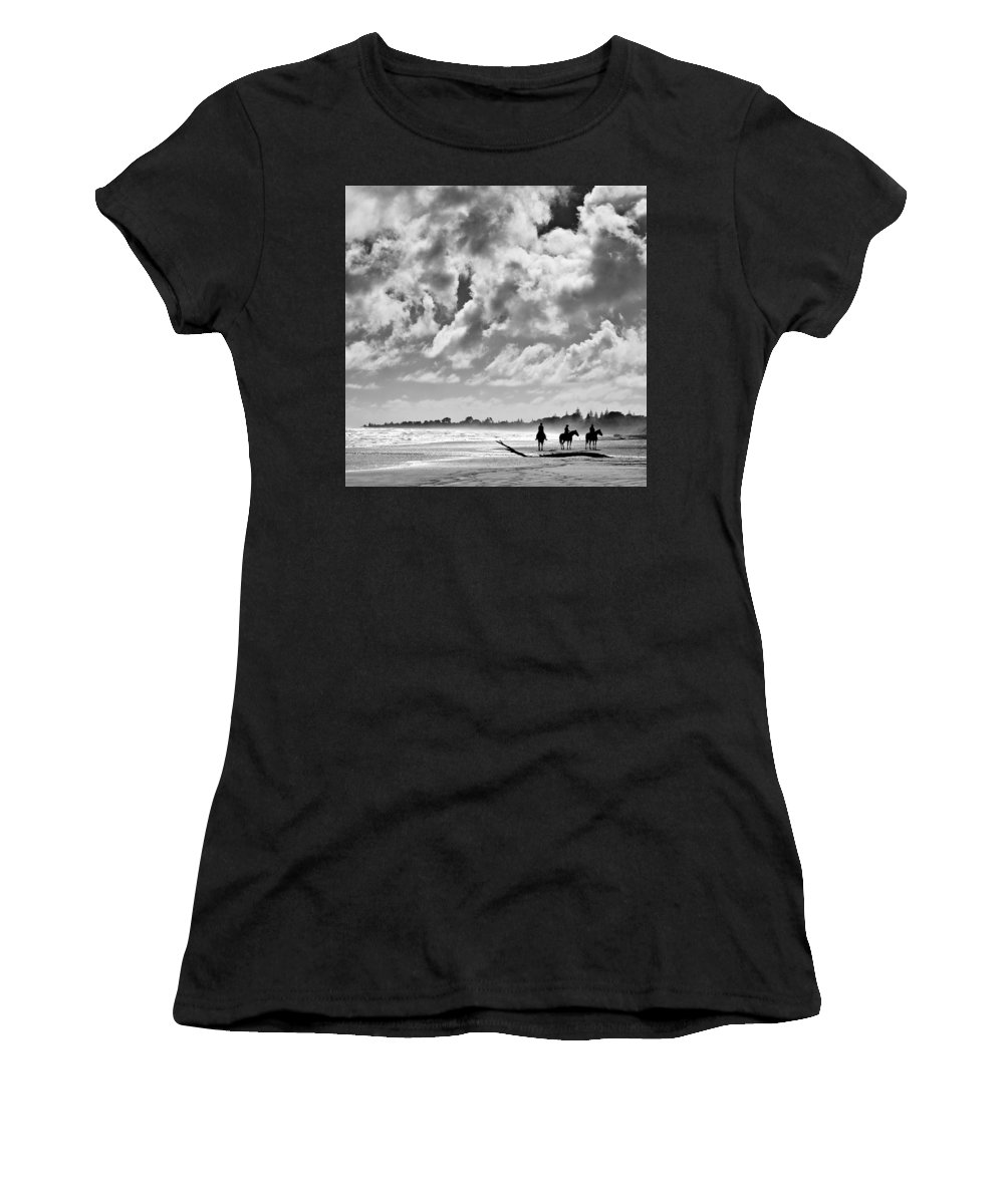 Ride Women's T-Shirt featuring the photograph Beach Riders by Dave Bowman