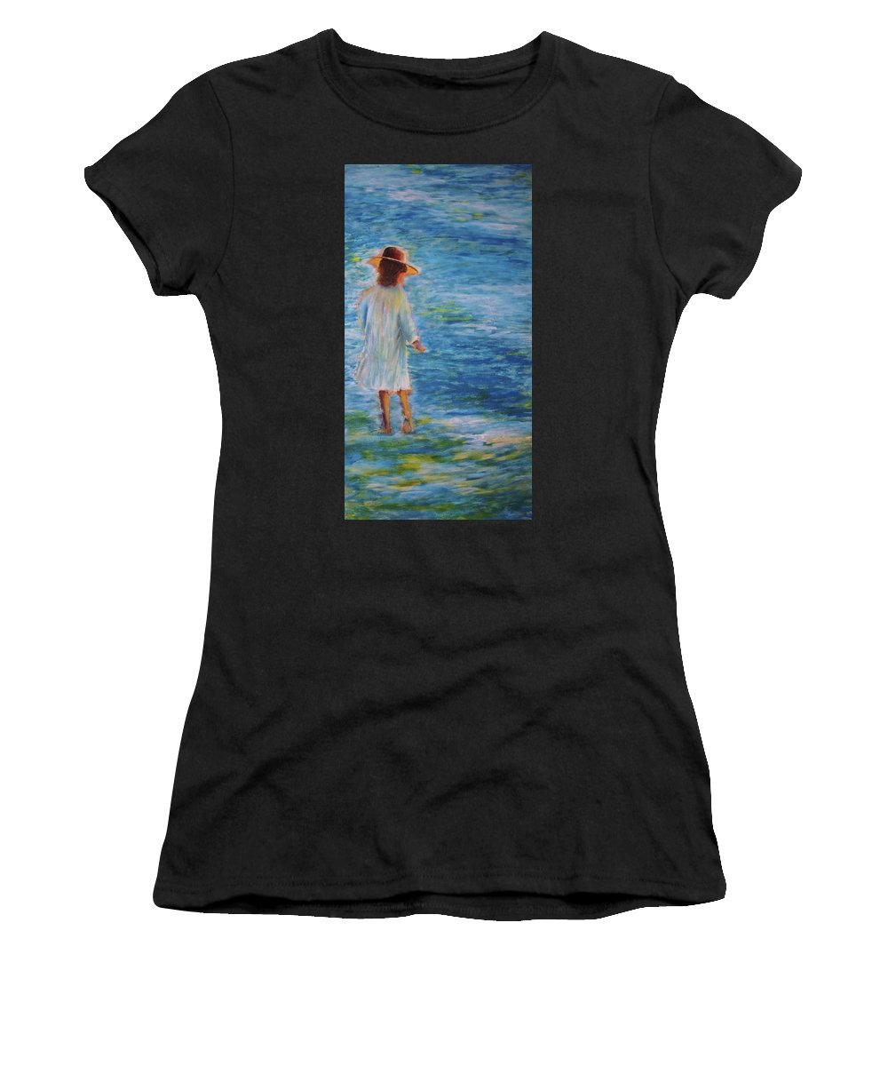 Water Women's T-Shirt featuring the painting Beach Walker by John Scates