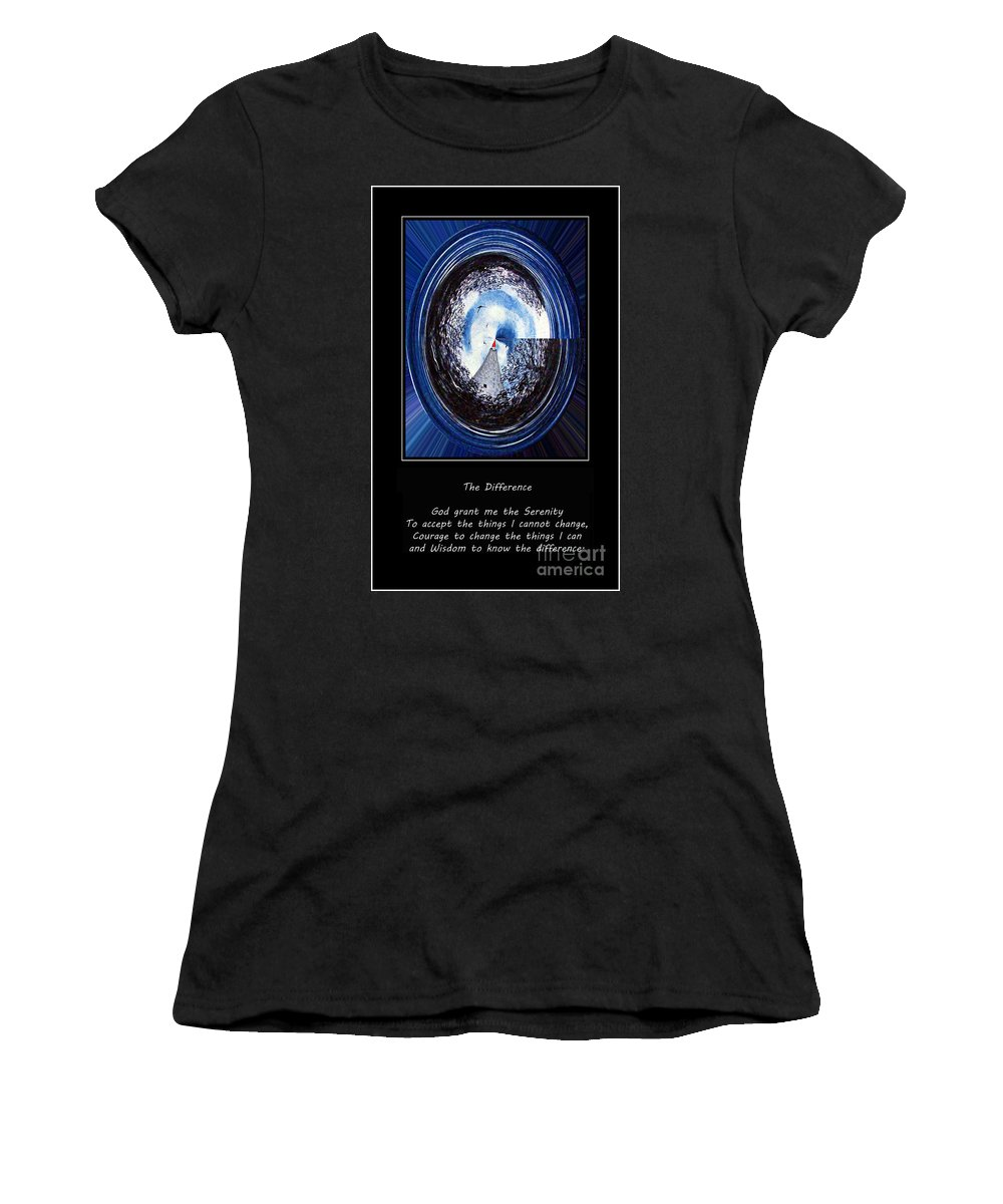 Beacon Of Hope Women's T-Shirt (Athletic Fit) featuring the painting Beacon Of Hope - Serenity Prayer by Barbara Griffin