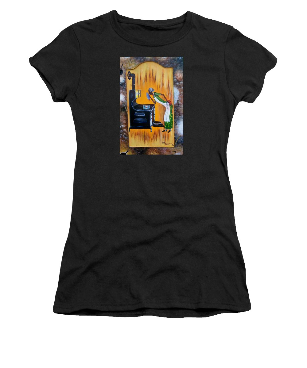 Beans And Cornbread Women's T-Shirt (Athletic Fit) featuring the painting Beans And Cornbread by Arthur Covington