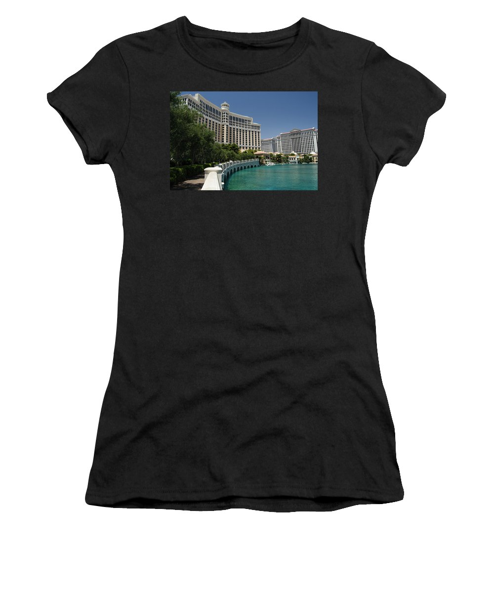Beautiful Bellagio Vegas Women's T-Shirt (Athletic Fit) featuring the photograph Beautiful Bellagio Hotel- Vegas by See My Photos