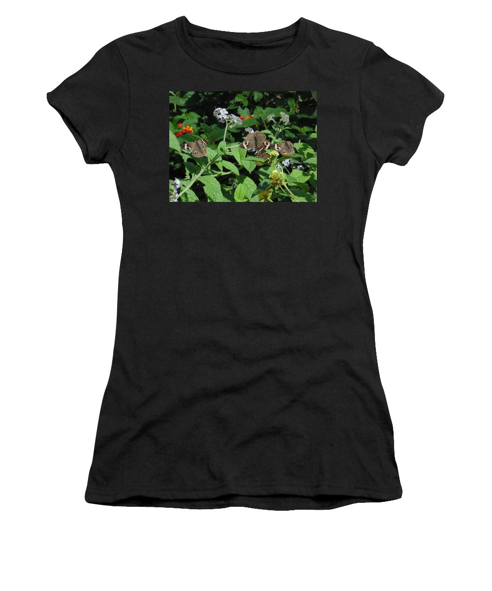 Nature Women's T-Shirt featuring the photograph Beautiful Buckeyes by Stephanie Grant