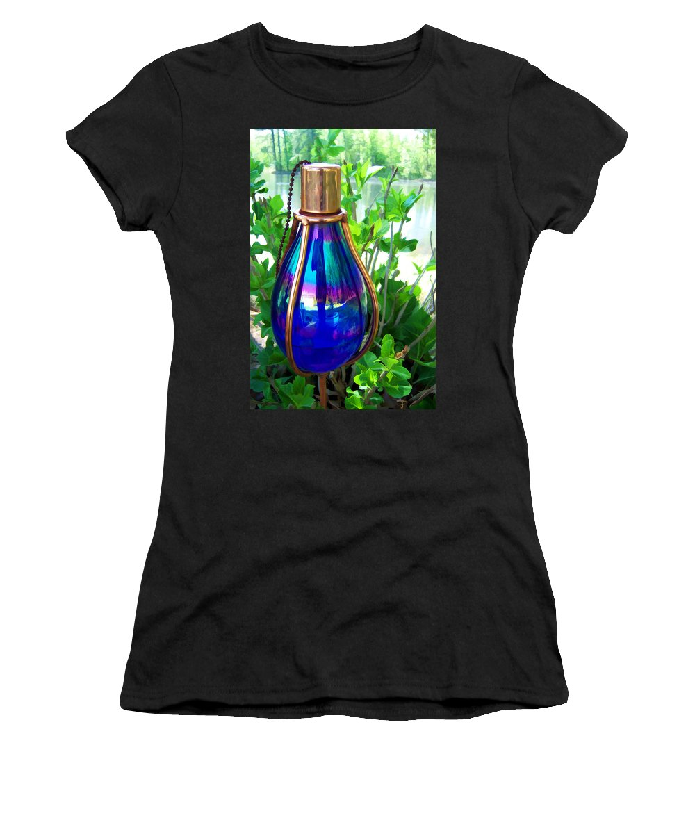 Patio Lamp Women's T-Shirt (Athletic Fit) featuring the photograph Beautiful Reflections by Kathy Clark