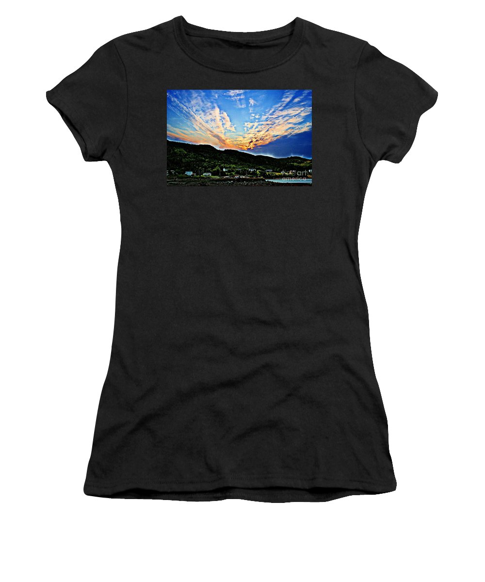 Beautiful Sky Over The Harbour Digital Painting Women's T-Shirt featuring the photograph Beautiful Sky Over The Harbour Digital Painting by Barbara Griffin