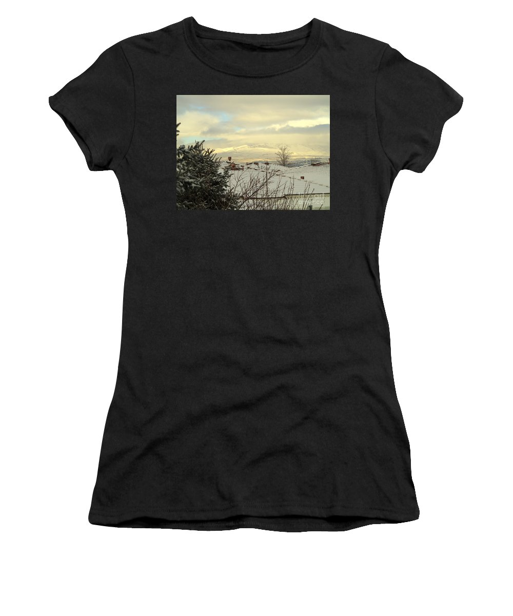 Snowy Rooftops Women's T-Shirt featuring the photograph Beautiful Sparkling Snow by Phyllis Kaltenbach