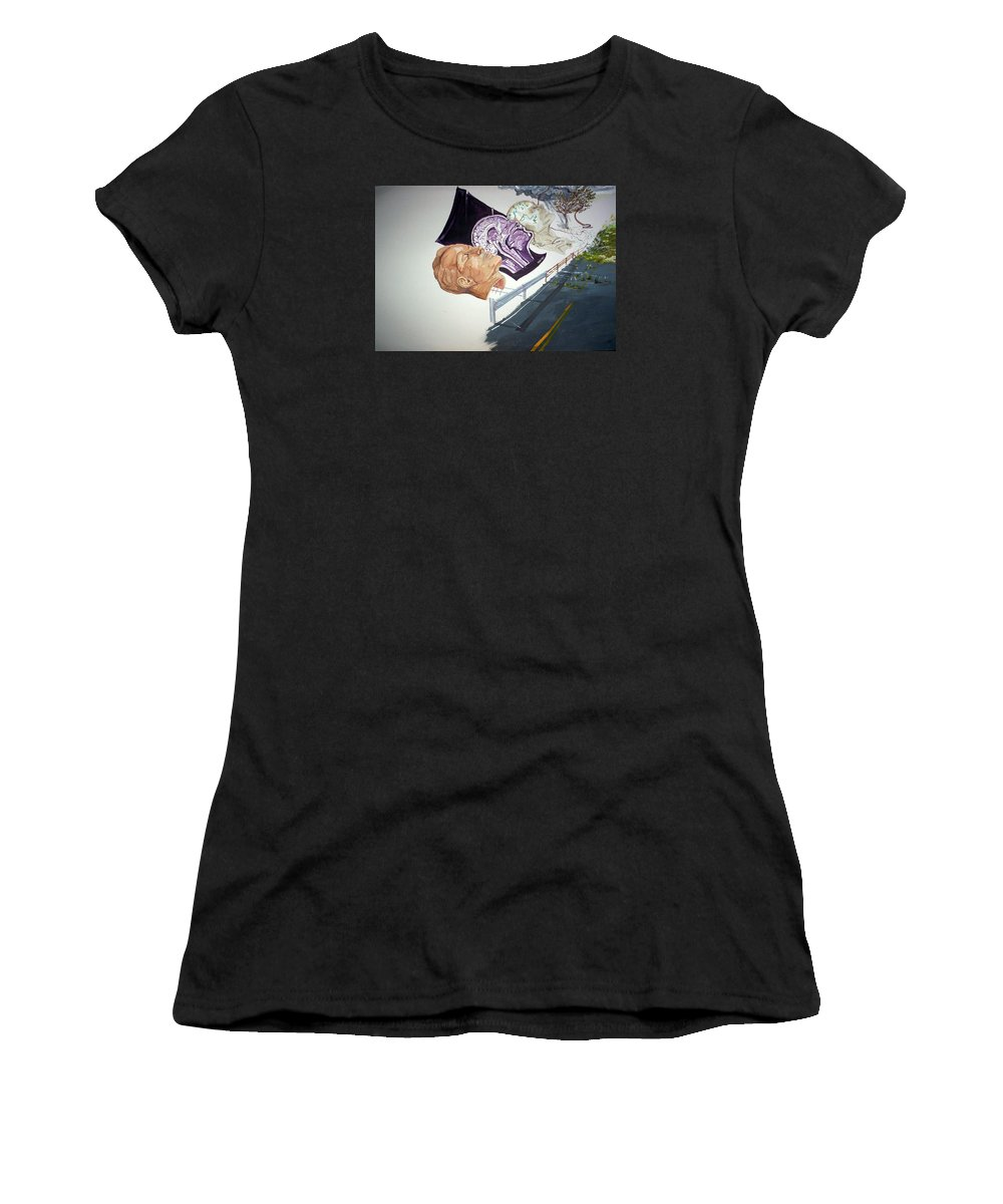 Surrealist Women's T-Shirt featuring the painting Becoming Conscience by Lazaro Hurtado