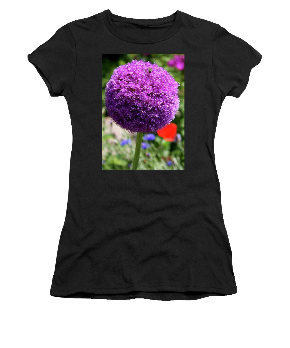 Allium Women's T-Shirt (Athletic Fit) featuring the photograph Bee Catcher by Christiane Schulze Art And Photography