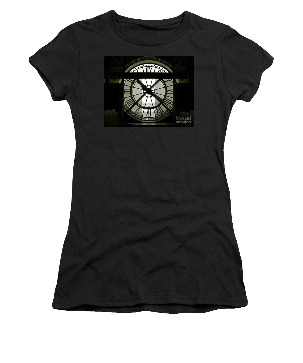 Clock Women's T-Shirt (Athletic Fit) featuring the photograph Behind Time by Ann Horn