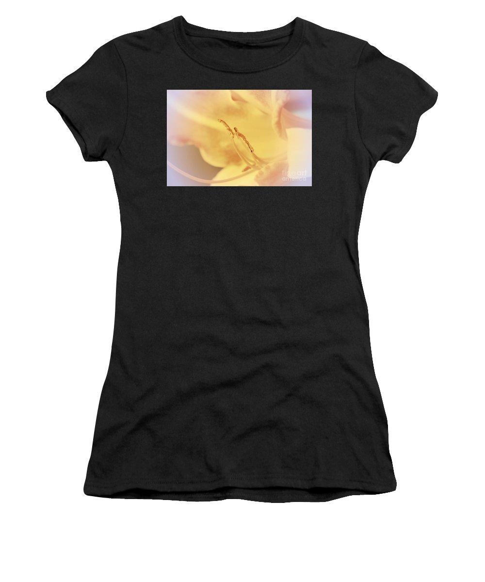 Lily Women's T-Shirt featuring the photograph Beige Lily by Lali Kacharava