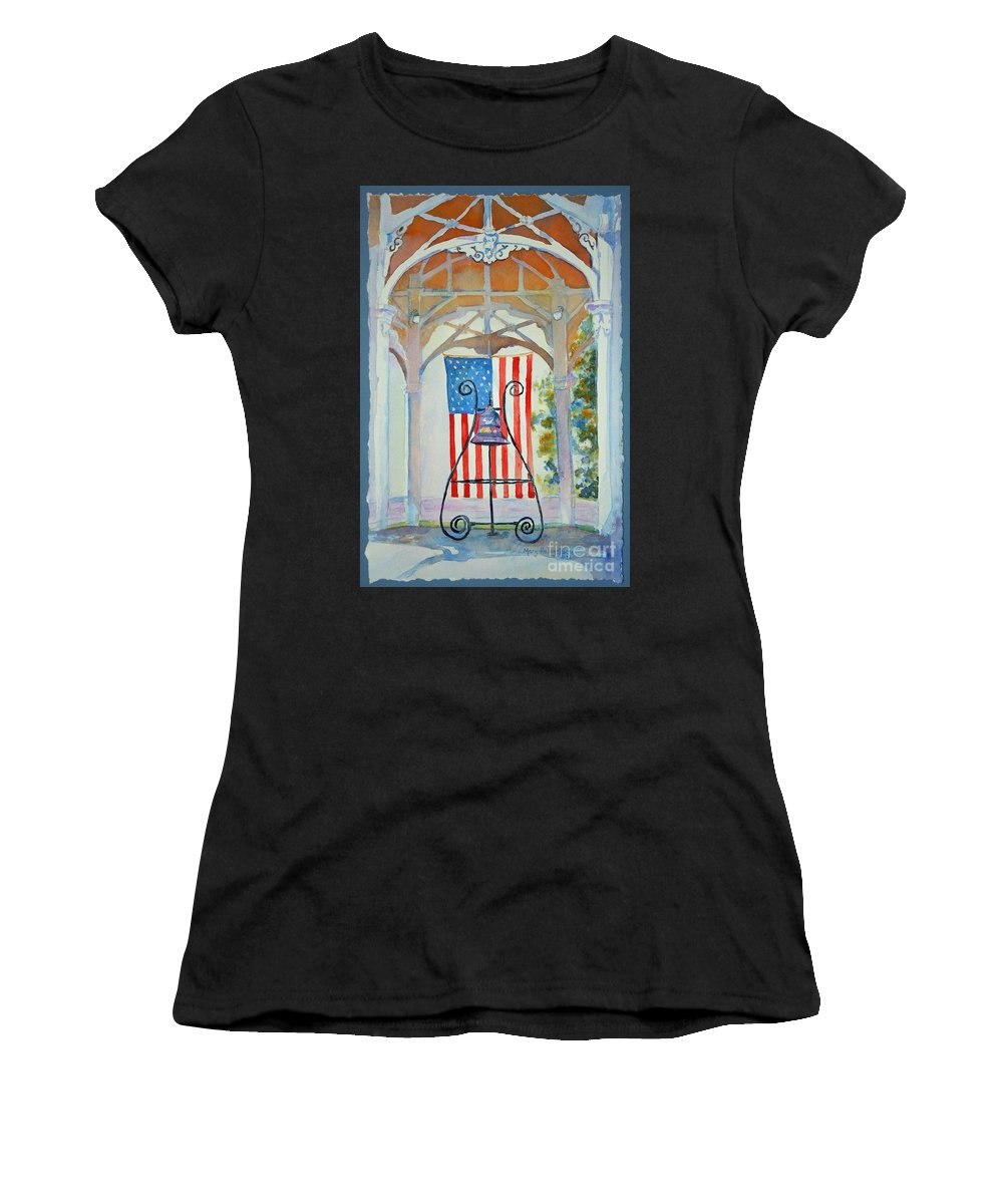 Bell Women's T-Shirt featuring the painting Bell And Flag by Mary Haley-Rocks