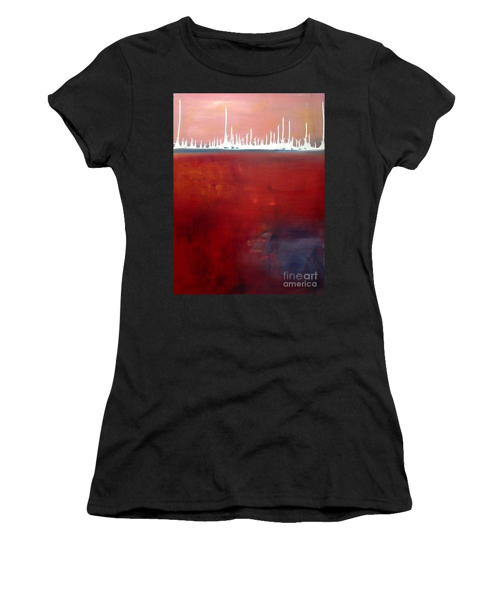 Abstract Women's T-Shirt (Athletic Fit) featuring the painting Below by Jeff Barrett
