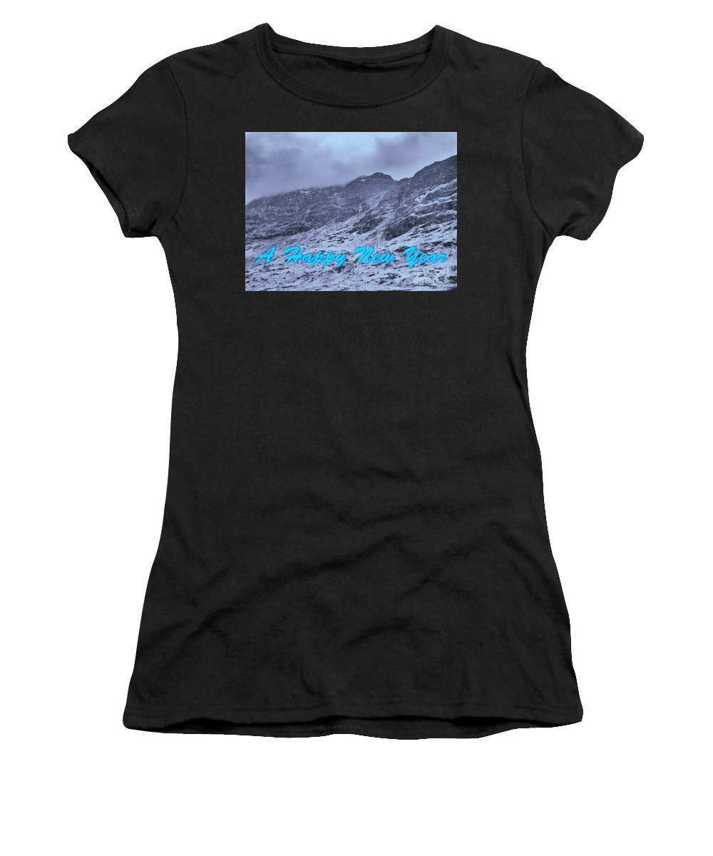 Mountains Women's T-Shirt (Athletic Fit) featuring the photograph Ben Nevis Happy New Year Greeting by Joan-Violet Stretch