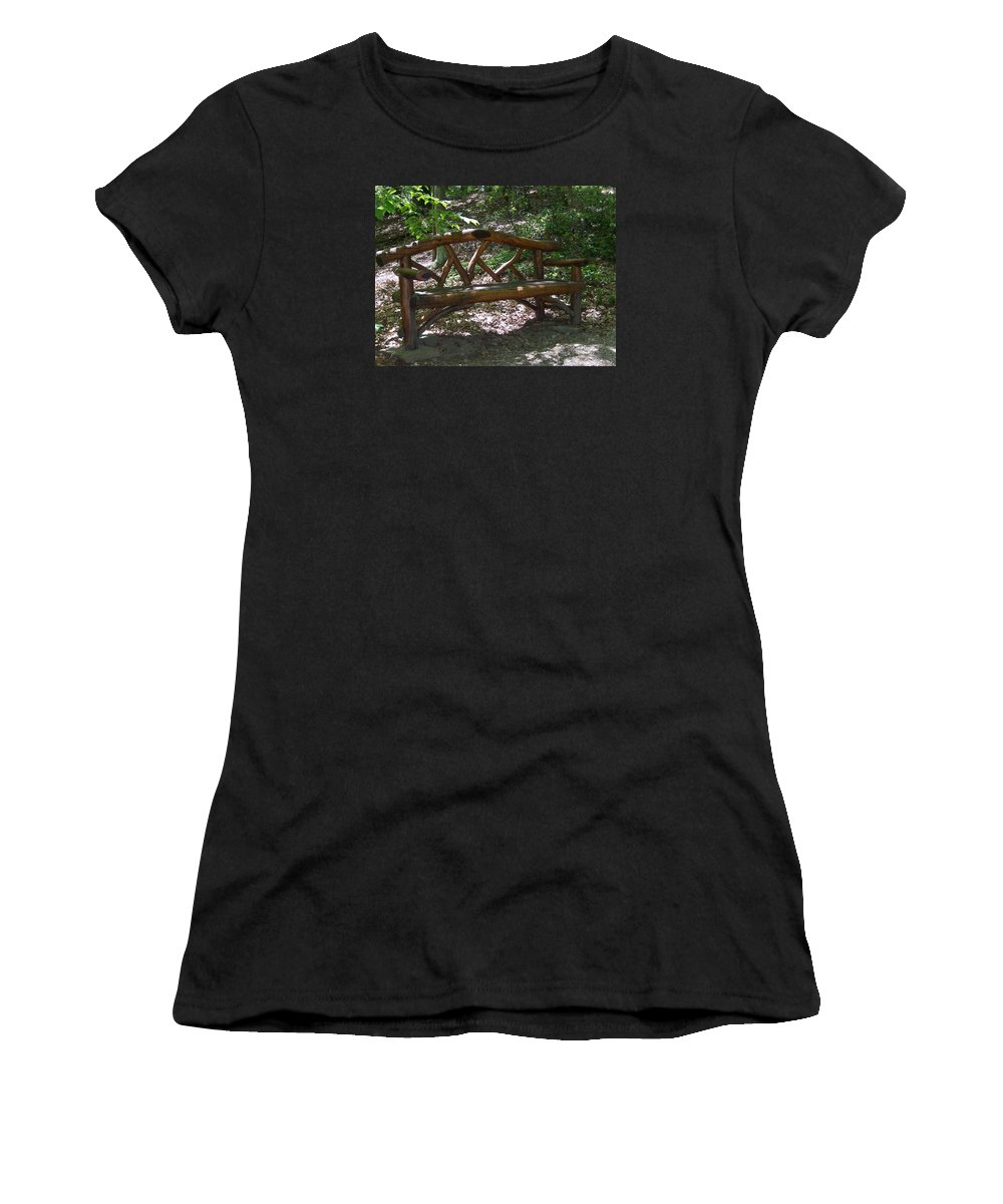 Framingham Women's T-Shirt (Athletic Fit) featuring the photograph Bench Made Of Tree Branches by Catherine Gagne