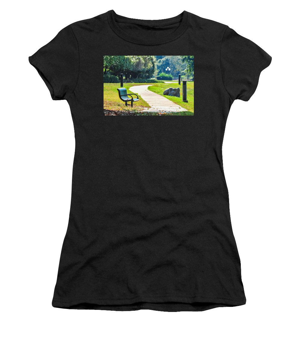 Abandoned Women's T-Shirt (Athletic Fit) featuring the photograph Bench In A Park With A Walkway by Alex Grichenko