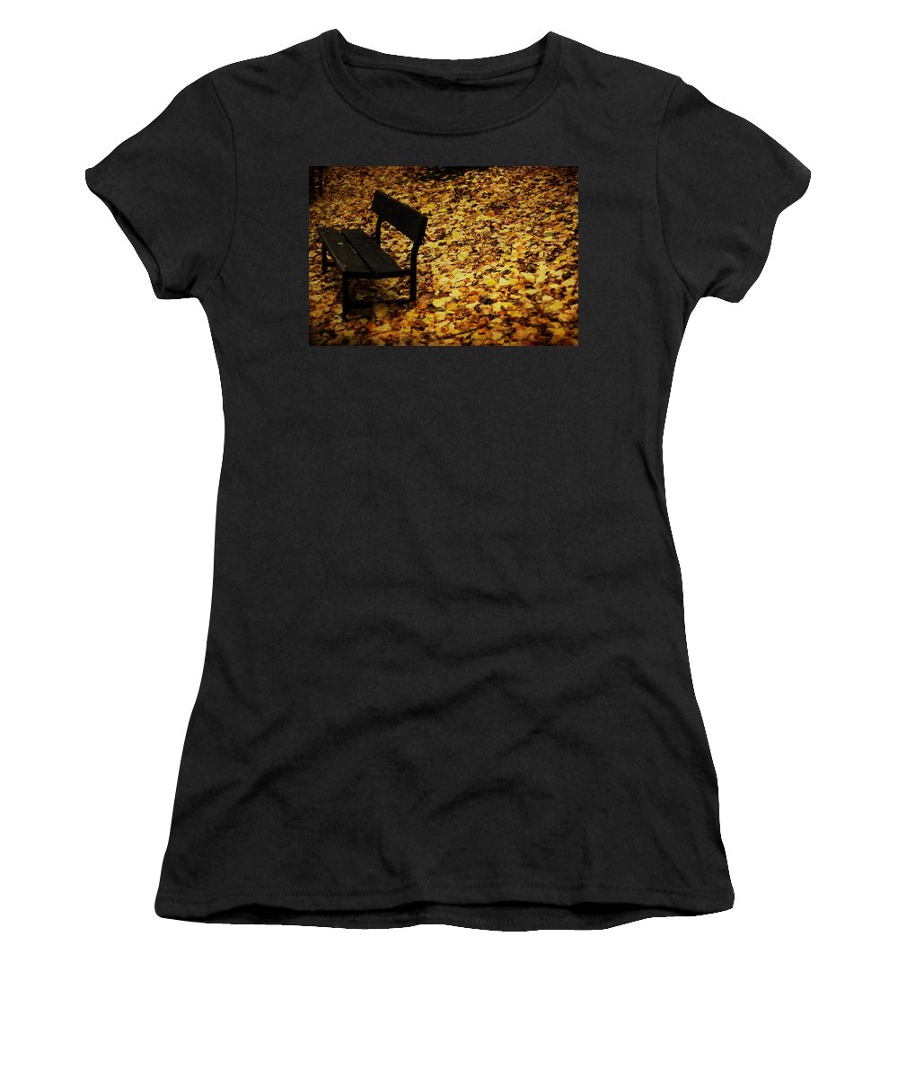 Park Bench Women's T-Shirt (Athletic Fit) featuring the photograph Solitude by Jacqueline Moore