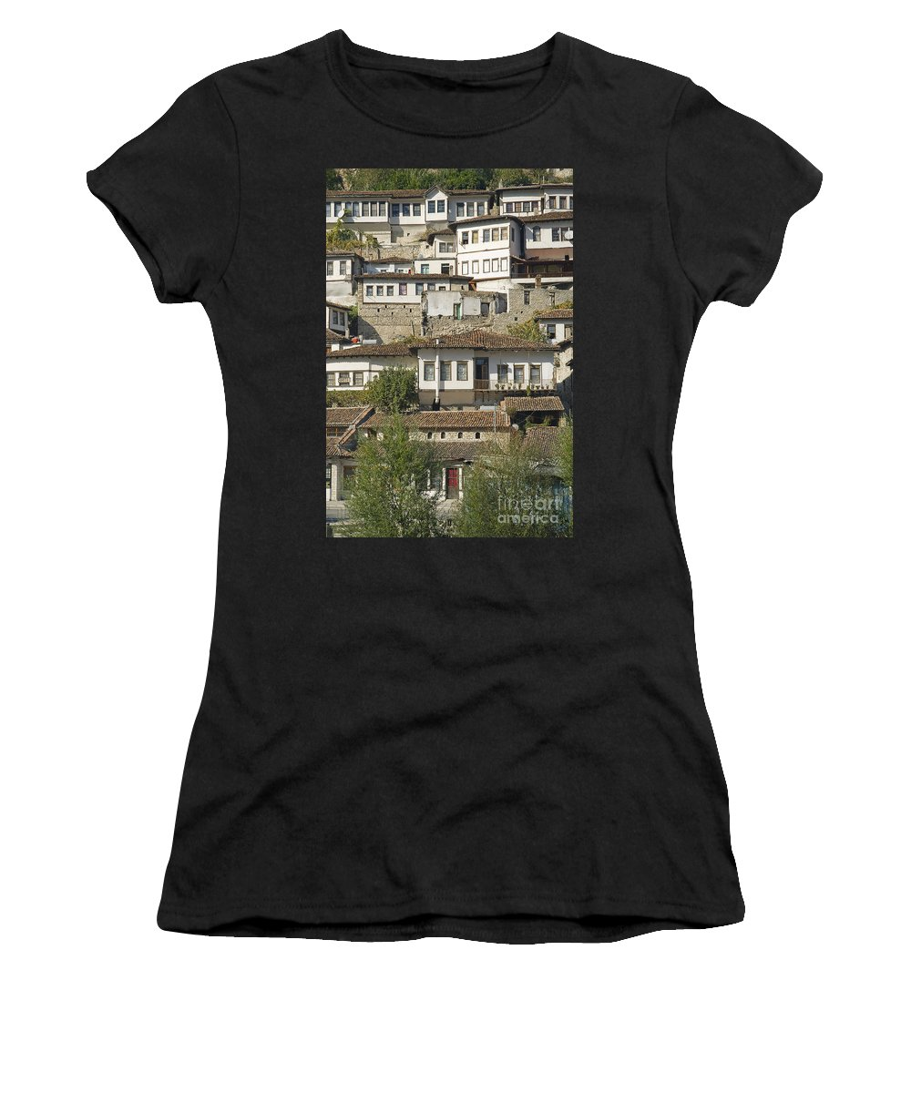 Albania Women's T-Shirt (Athletic Fit) featuring the photograph Berat Old Town In Albania by Jacek Malipan