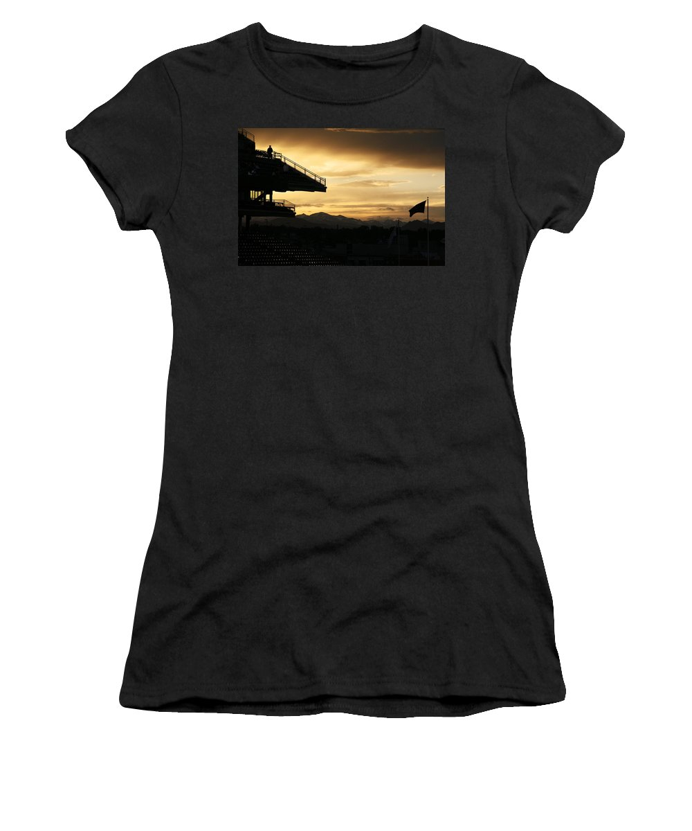 Americana Women's T-Shirt (Athletic Fit) featuring the photograph Best View Of All - Rockies Stadium by Marilyn Hunt