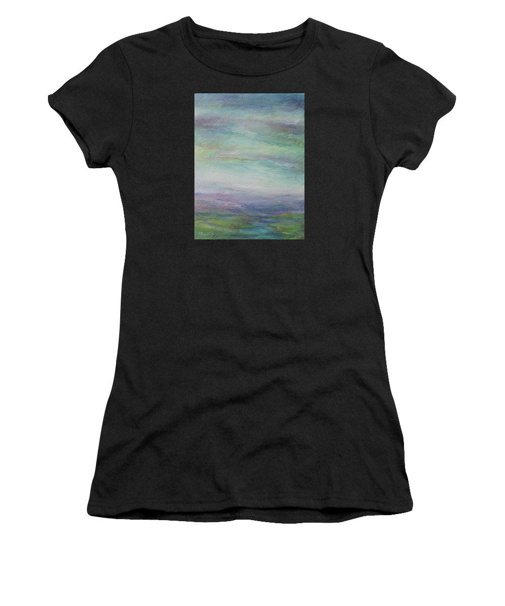 Landscape Women's T-Shirt featuring the painting Beyond The Distant Hills by Mary Wolf