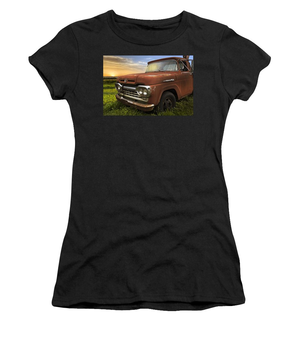 Appalachia Women's T-Shirt (Athletic Fit) featuring the photograph Big Red Ford by Debra and Dave Vanderlaan