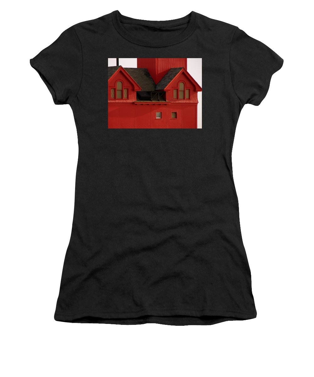 Windows Women's T-Shirt (Athletic Fit) featuring the photograph Big Red Holland Harbor Light Michigan by Michelle Calkins