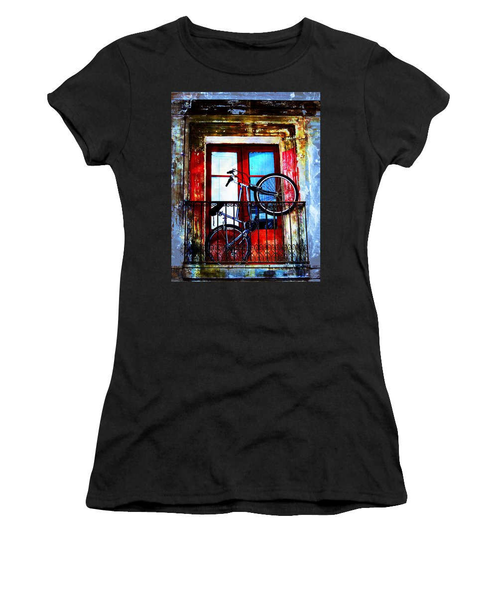 Abstract Women's T-Shirt (Athletic Fit) featuring the photograph Bike In The Balcony by Hal Halli