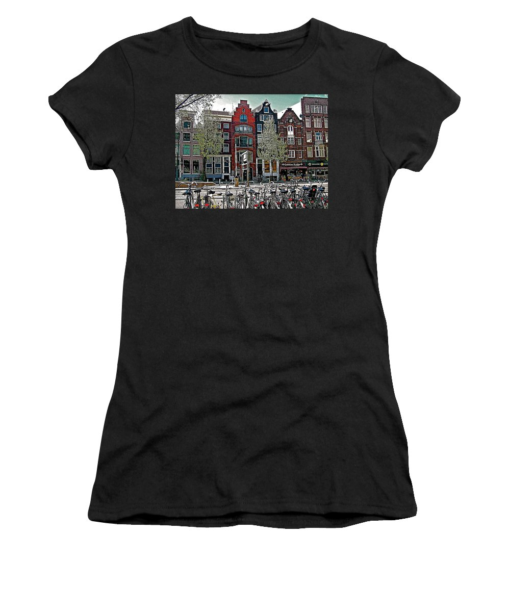 Bikes Everywhere In Amsterdam Women's T-Shirt (Athletic Fit) featuring the photograph Bikes Everywhere In Amsterdam-netherlands by Ruth Hager
