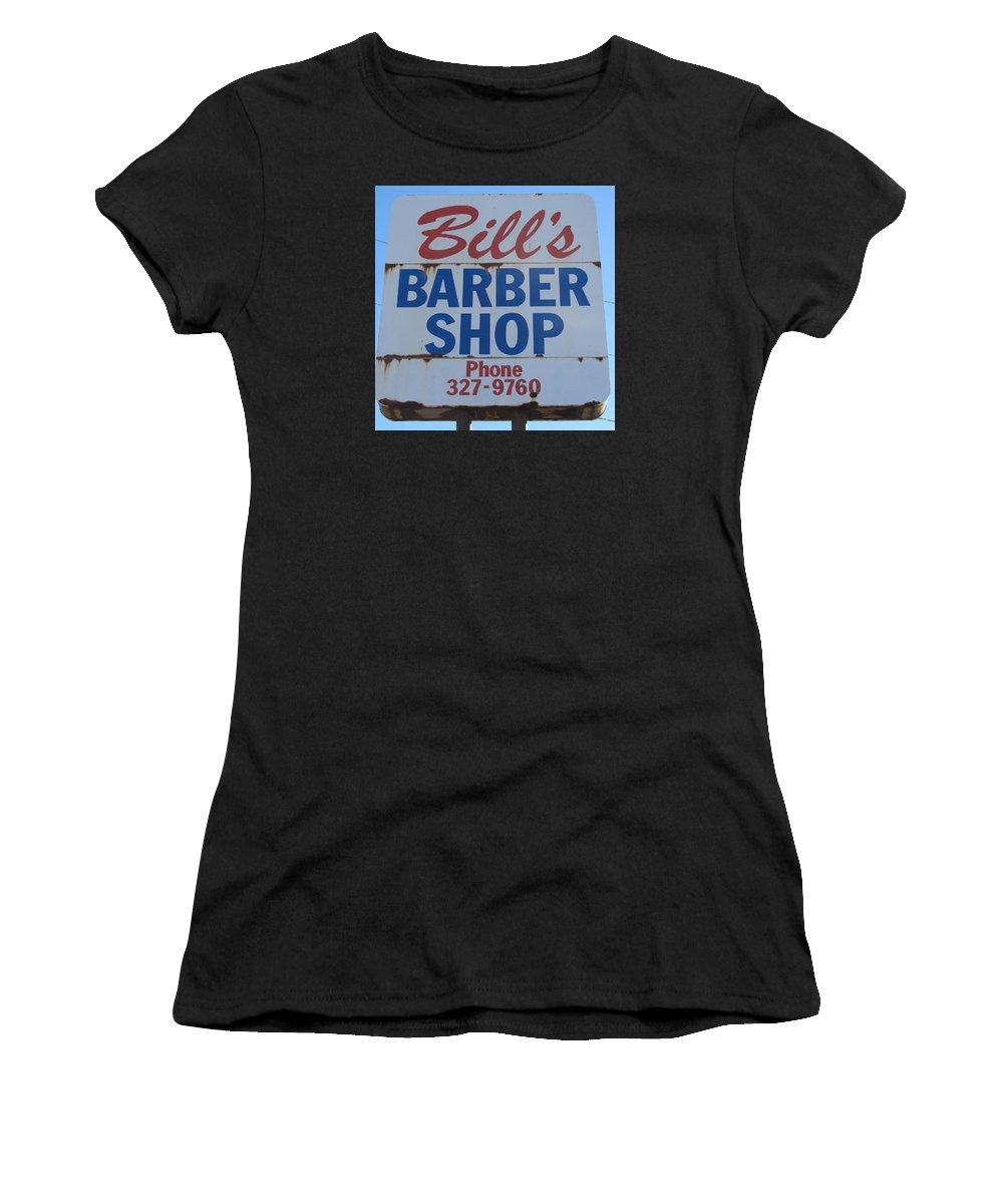Barber Shops Women's T-Shirt featuring the photograph Bill's Barber Shop by Donna Wilson