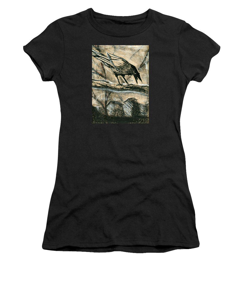 Crow Women's T-Shirt (Athletic Fit) featuring the pastel Bird 1 by Matthew Howard