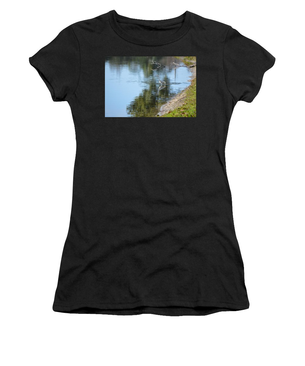 Florida Women's T-Shirt (Athletic Fit) featuring the photograph Bird And Pond by Linda Kerkau