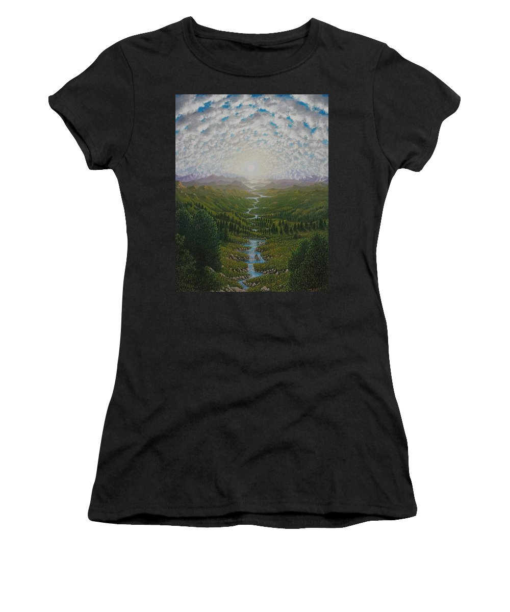 Sun Women's T-Shirt featuring the painting Bird View by Karma Moffett