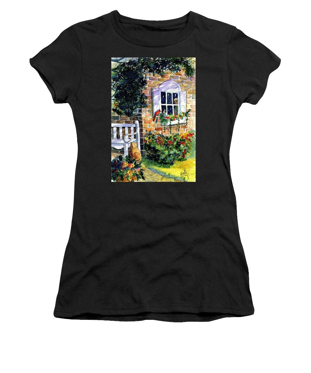 Red Birds Women's T-Shirt (Athletic Fit) featuring the painting Bird's Eye View by Marilyn Smith