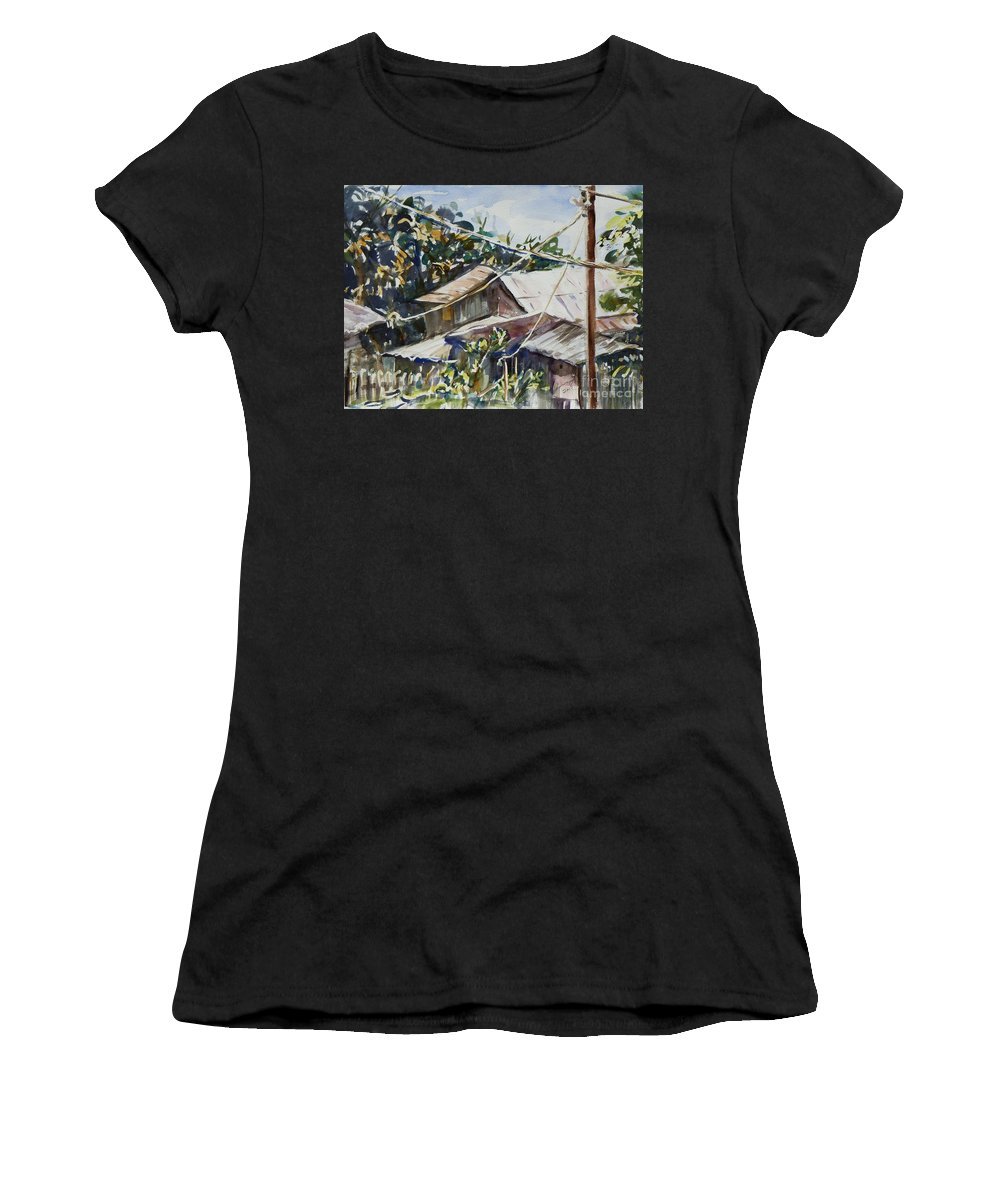 Landscape Women's T-Shirt (Athletic Fit) featuring the painting Bird's Eye View by Xueling Zou