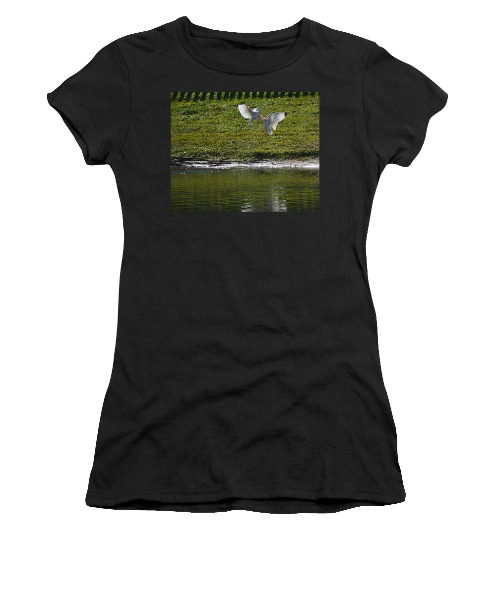 Bird Women's T-Shirt (Athletic Fit) featuring the photograph Birds In Fight by Linda Kerkau