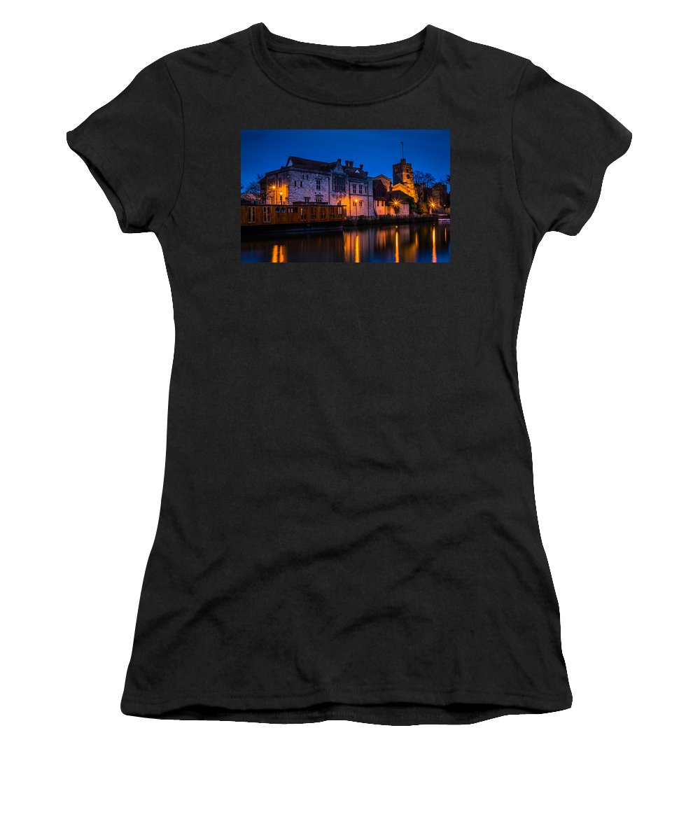 Bishops Palace Maidstone Women's T-Shirt (Athletic Fit) featuring the photograph Bishops Palace Maidstone by Dawn OConnor