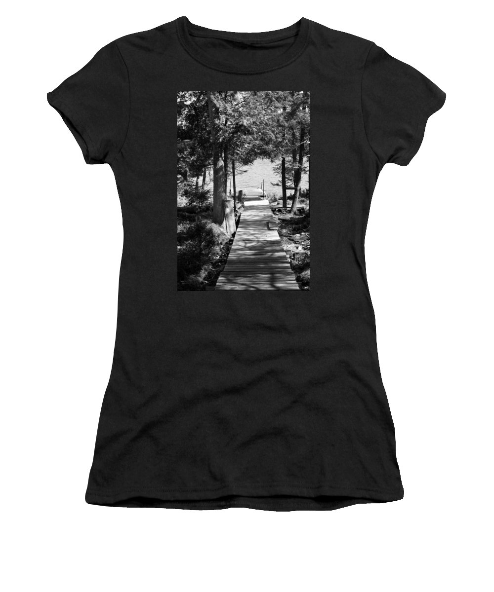 Walkway Women's T-Shirt (Athletic Fit) featuring the photograph Black And White Walkway by Thomas Phillips