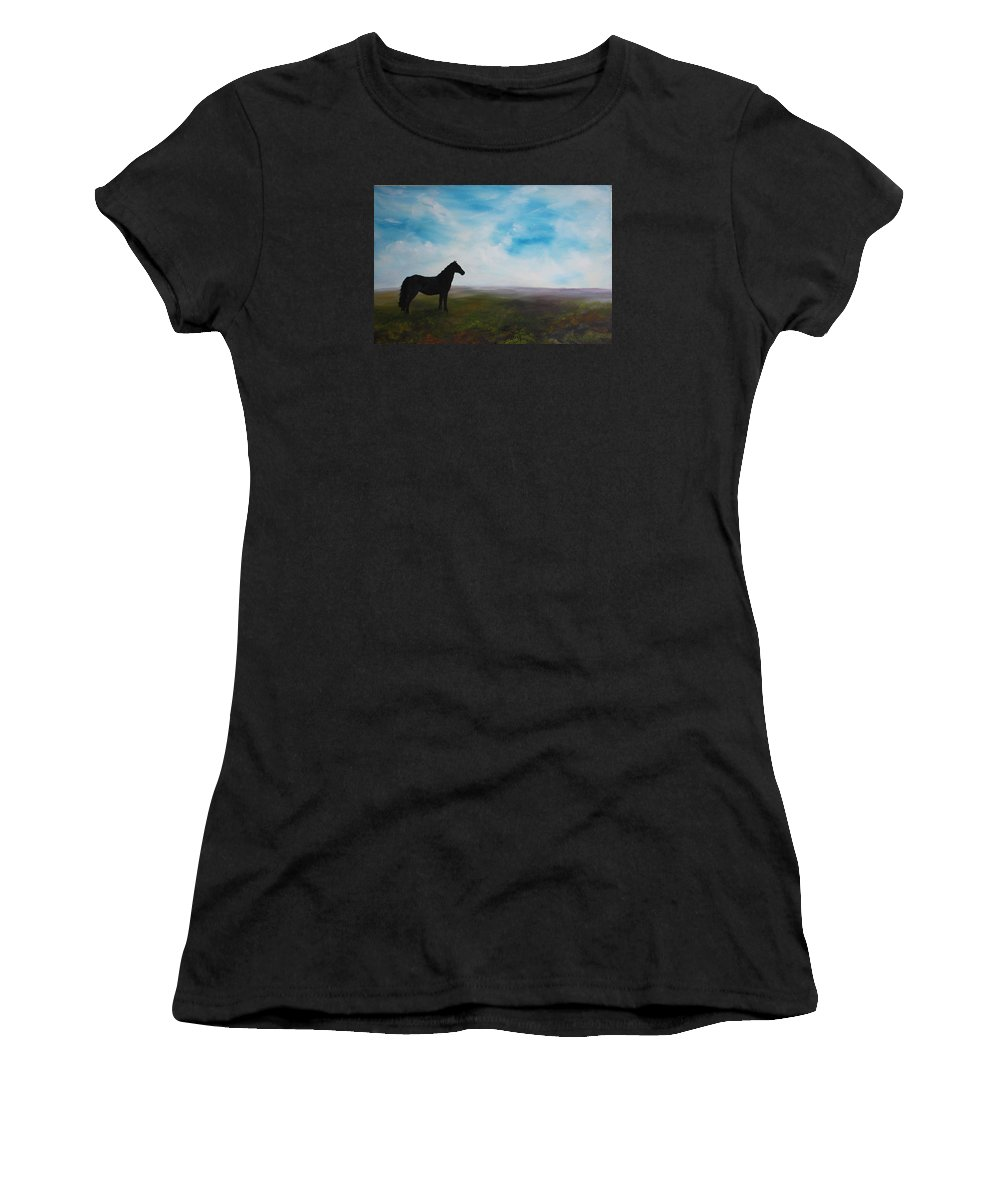 Yorkshire Moors Women's T-Shirt featuring the painting Black As Night In The Light Of Day by Jean Walker