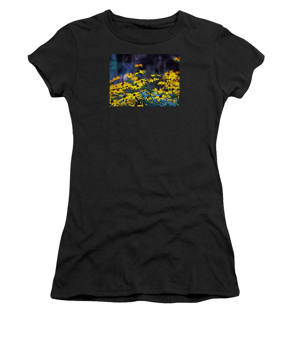 Mixed Media Art Women's T-Shirt (Athletic Fit) featuring the photograph Black-eyed Susans by Patricia Griffin Brett